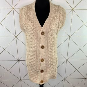 Handcrafted Chunky Knit Button Front Sweater Vest